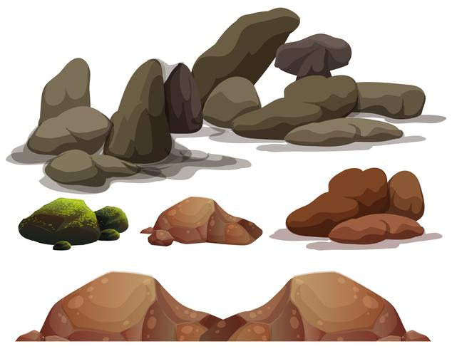 A set of rock and stone elements vector