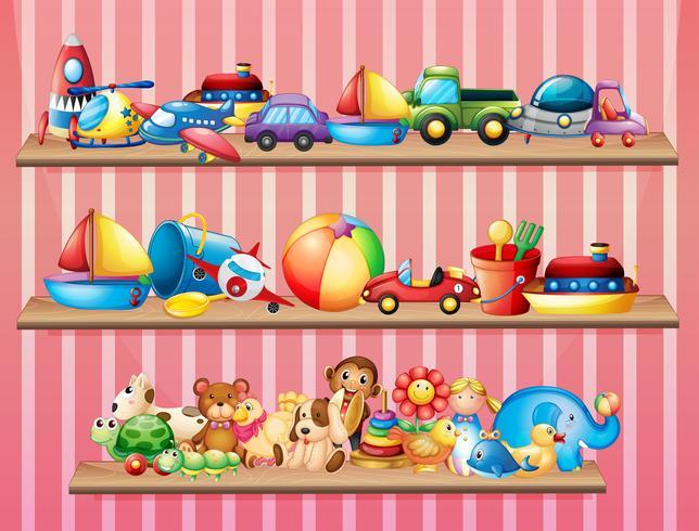 Scaffali pieni di giocattoli diversi