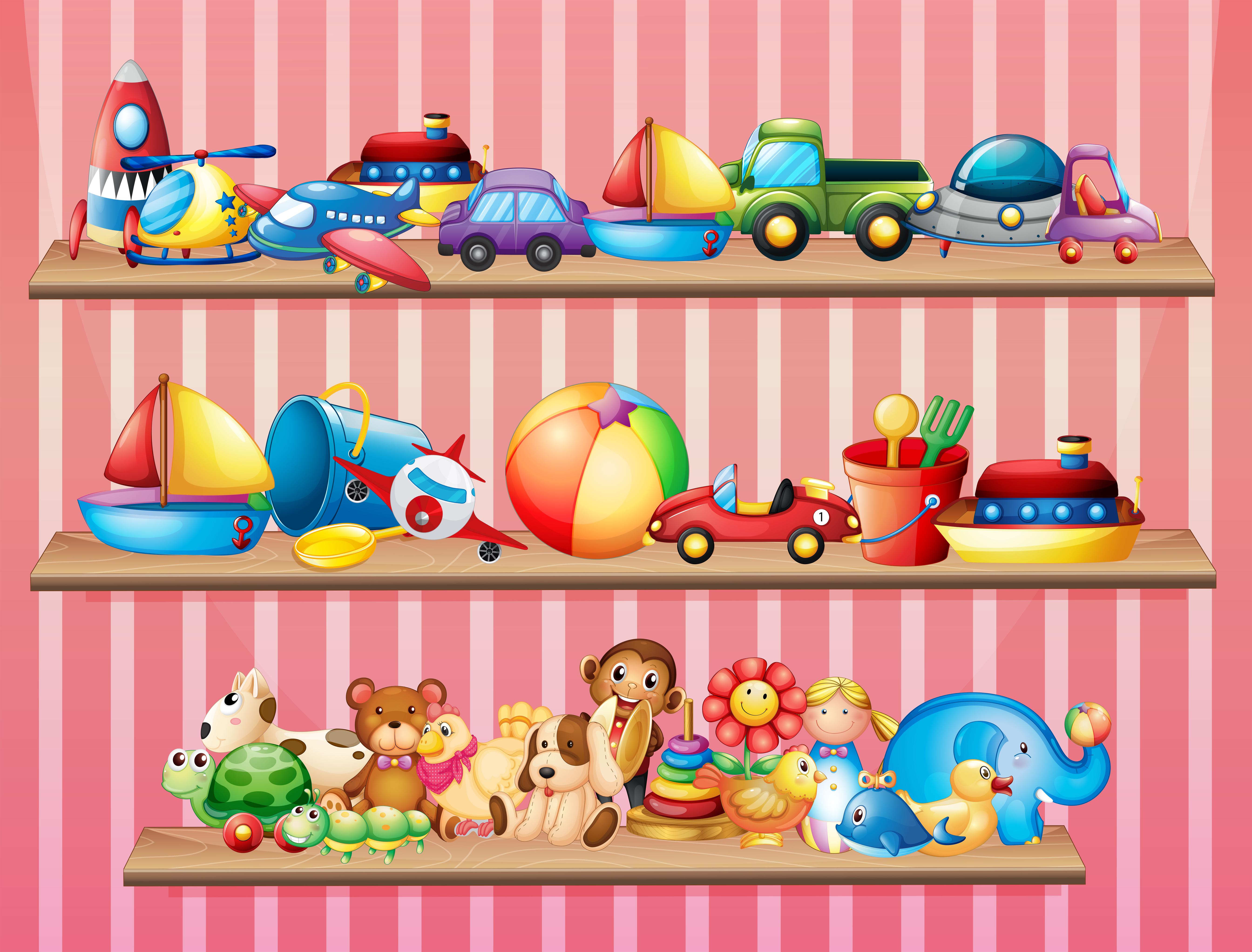 Векторные картинки для детей в магазине игрушек, февраля. открытка
