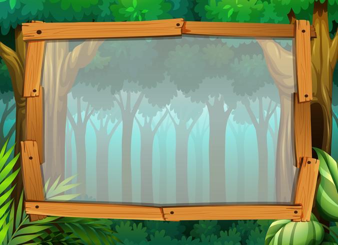 Gränsdesign med mörk skog vektor