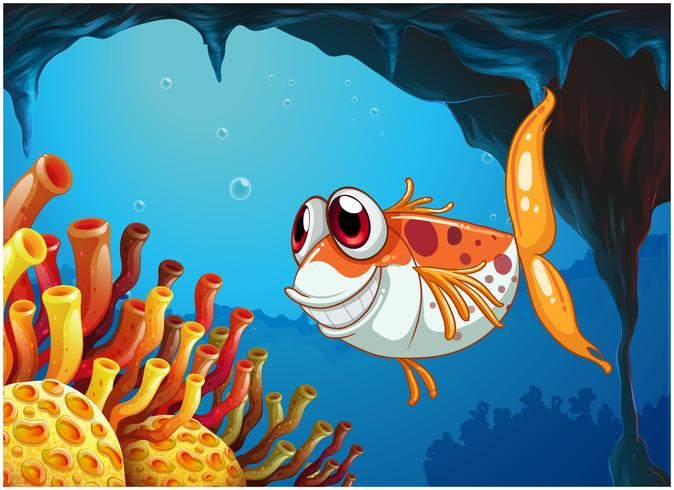 A smiling fish under the sea inside the cave