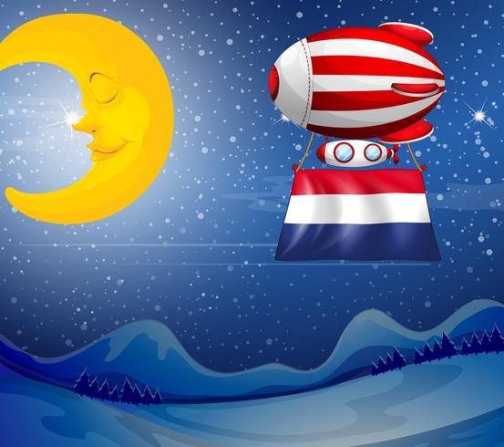 Um balão flutuante perto da lua com a bandeira da Holanda