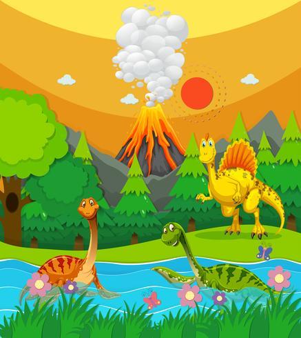 Dinosaurussen die in de rivier zwemmen
