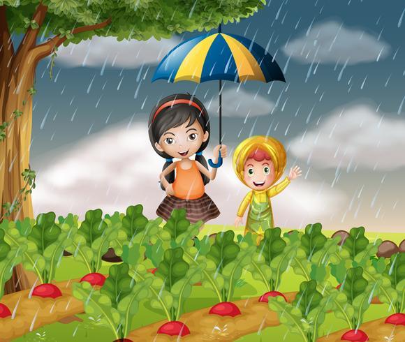 Niños en el jardín cuando llueve.