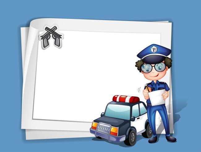 Un papel en blanco con un policía