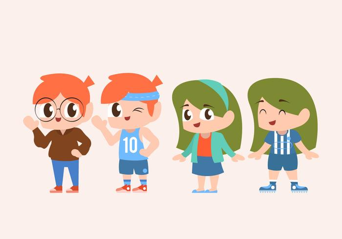 Cute Children Character Set Doing Sports Vector Illustration