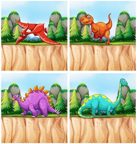Szenen mit vielen Dinosauriern