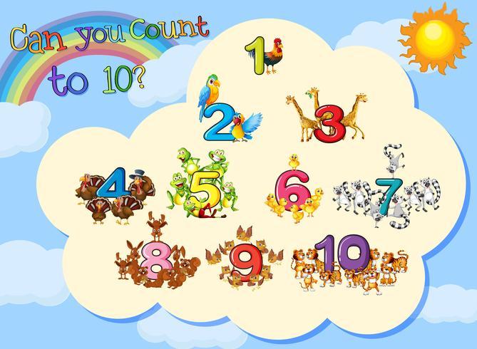 Muchos animales con números hasta diez. vector