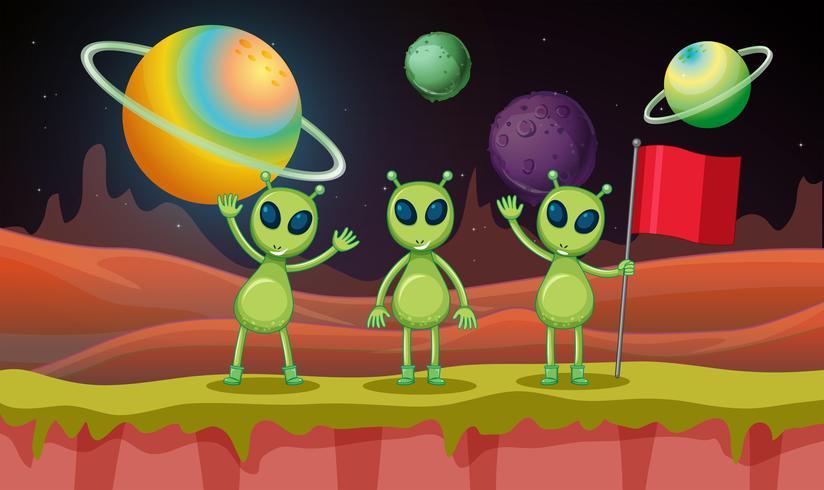 Drie aliens in de ruimte