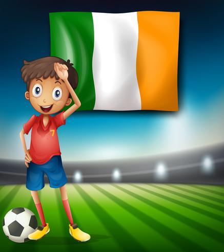 Bandera de Irlanda y jugador de fútbol.