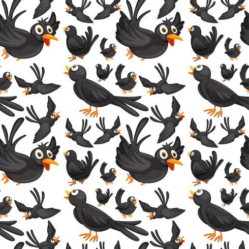 Seamless background design with crows flying