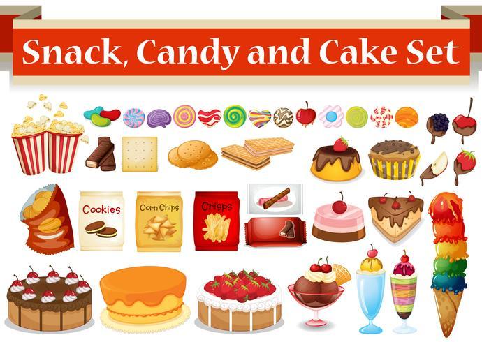 Muitos tipos de lanche e doces