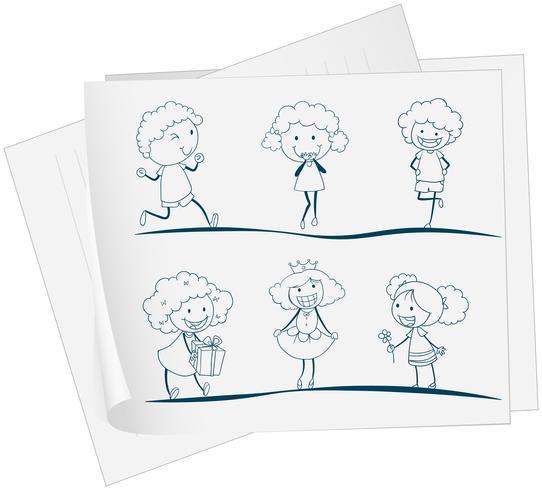 Un papier avec un dessin d'une fille dans différents attires