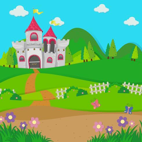 Scena di sfondo con torri del castello nel campo