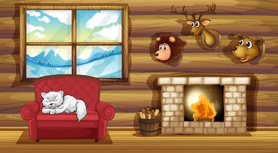 Een woonkamer met opgezette dieren hoofddecors