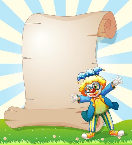 Ett tomt papper på baksidan av en manlig clown