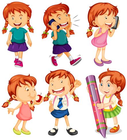 Girl in six different actions