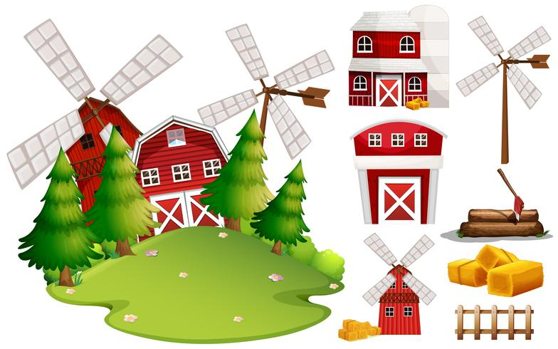 A Barn House and Farm Element vector