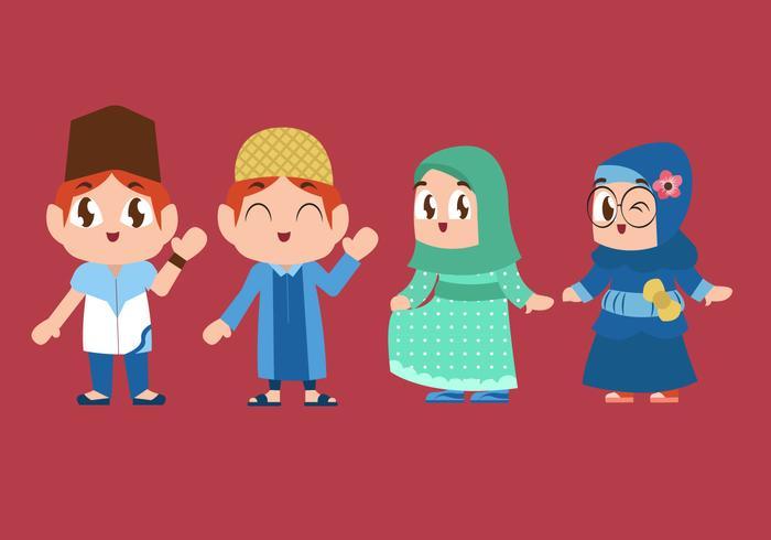 Cute Muslim Children Playing Vector Illustration