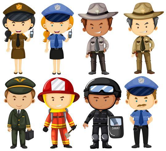 Personas en diferentes uniformes de trabajo.