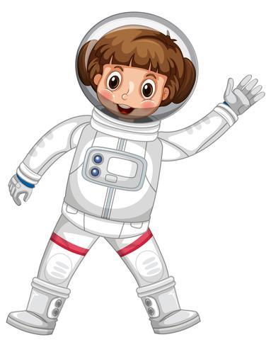 Ragazza in mano d'ondeggiamento del vestito da astronauta