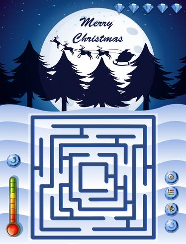 Maze game template with christmas theme