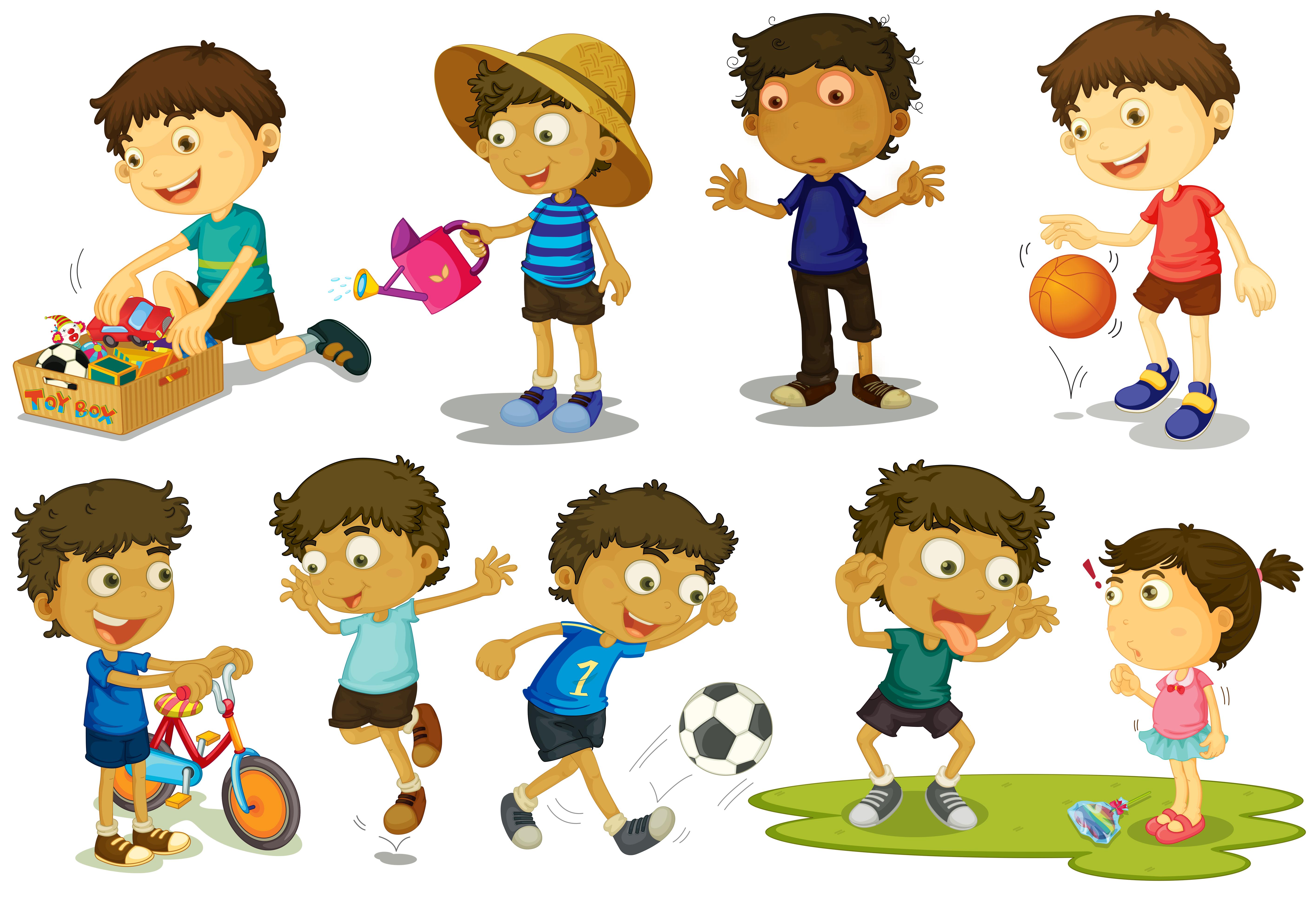 Kid playing various activiies - Download Free Vectors ...