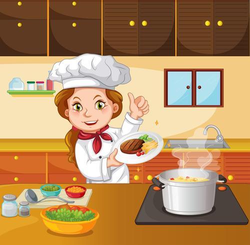 Chef mujer cocinando en la cocina