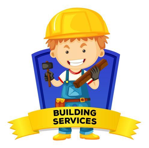Wordcard di occupazione con servizi di costruzione