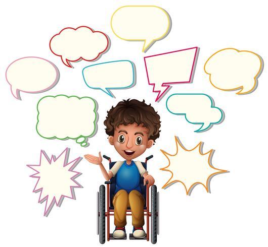 Liten pojke på rullstol med tomma talbubblor