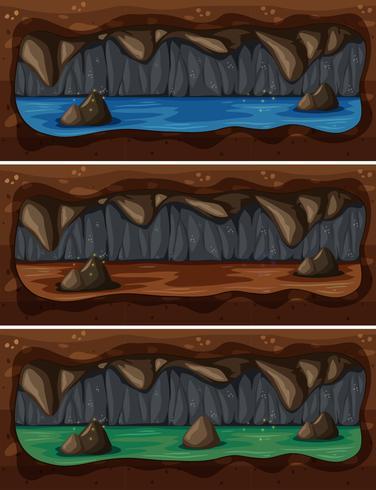 En uppsättning av underjordiska grottfloden