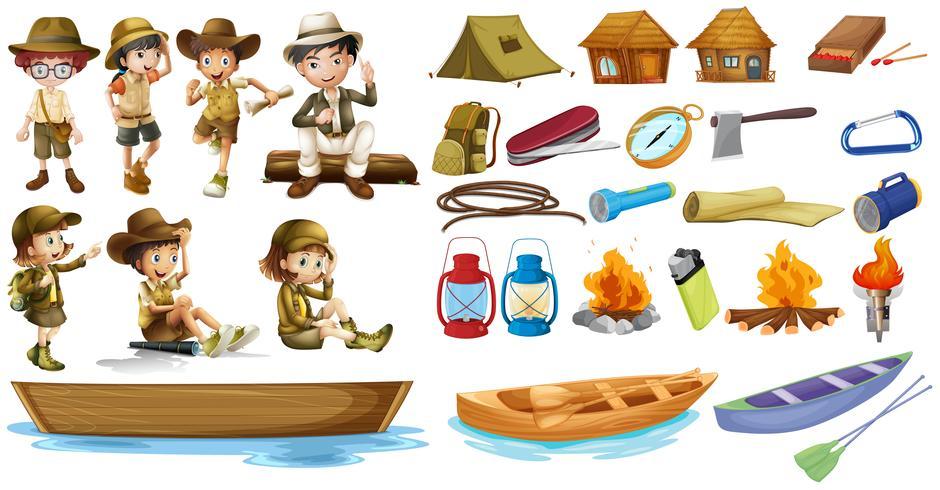 Les campeurs et les choses utilisées pendant le camping