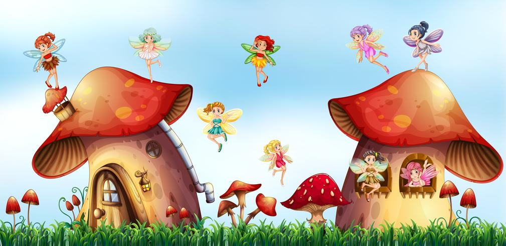 Szene mit Feen, die um Pilzhäuser fliegen