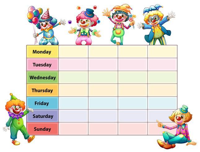 Mesa de sete dias da semana com palhaços felizes
