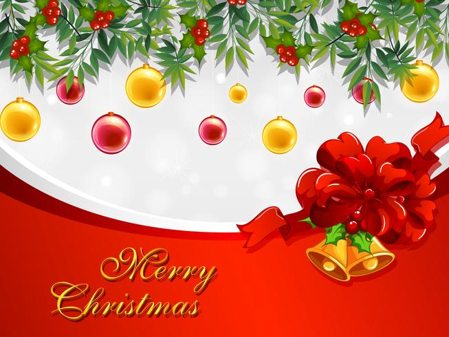 Christmas Card Template.Christmas Card Template With Bells And Ornaments Download