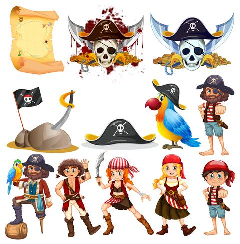 Different pirate characters and pirate symbols