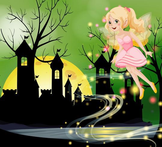 Fée mignonne volant avec les tours du château en arrière-plan