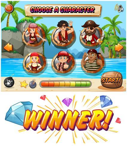 Slot modello di gioco con personaggi dei pirati
