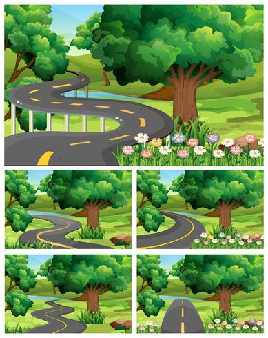 Cinco escenas de jardín con carretera vacía.