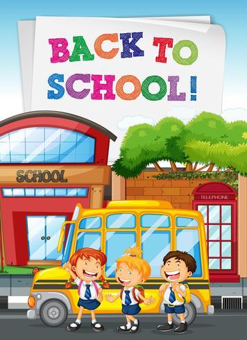 Schüler stehen am Schulbus