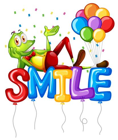 Frog and balloons for word smile