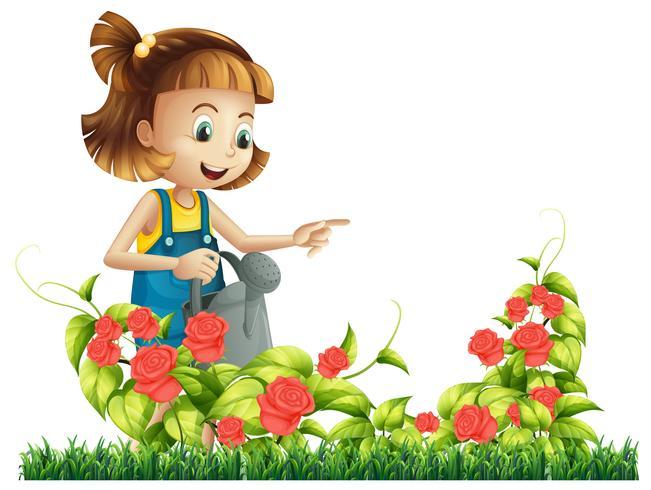 Een meisje dat roze boom water geeft