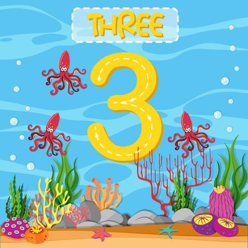 Number three underwater theme