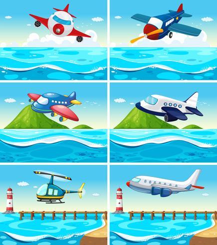 Aviões e helicópteros sobre o oceano