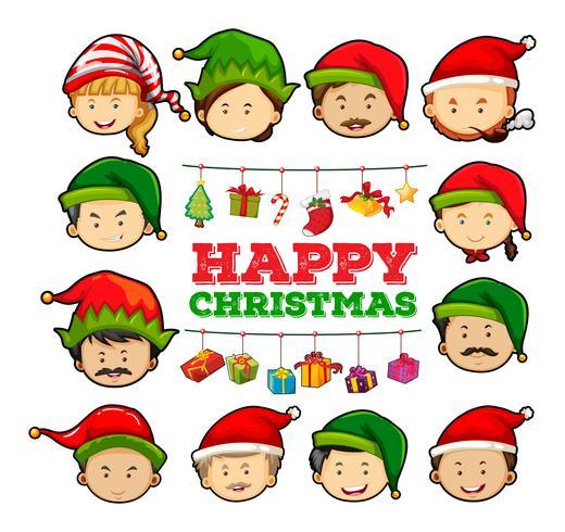 Cartão de Natal com pessoas usando chapéus de festa