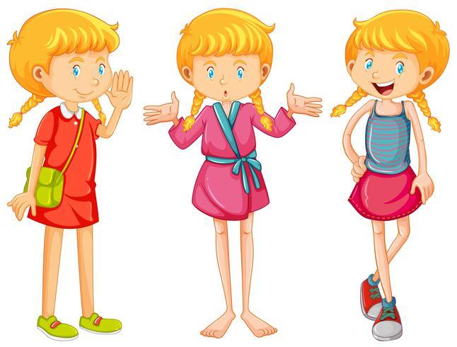 Mädchen in drei Kleidern