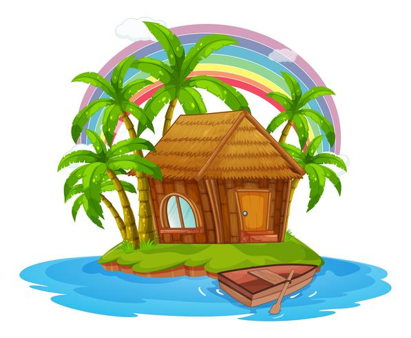 A Hut on a Beautiful Island vector