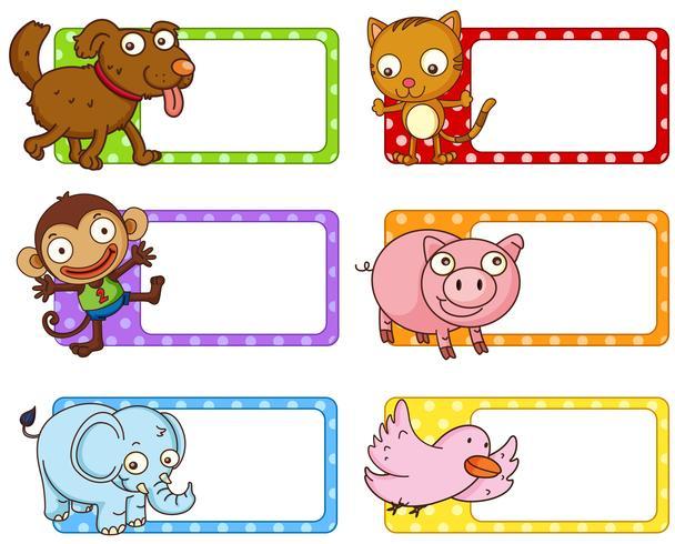 Etichette polkadot con simpatici animali