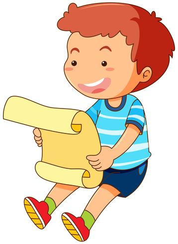 Kleiner Junge liest Papier