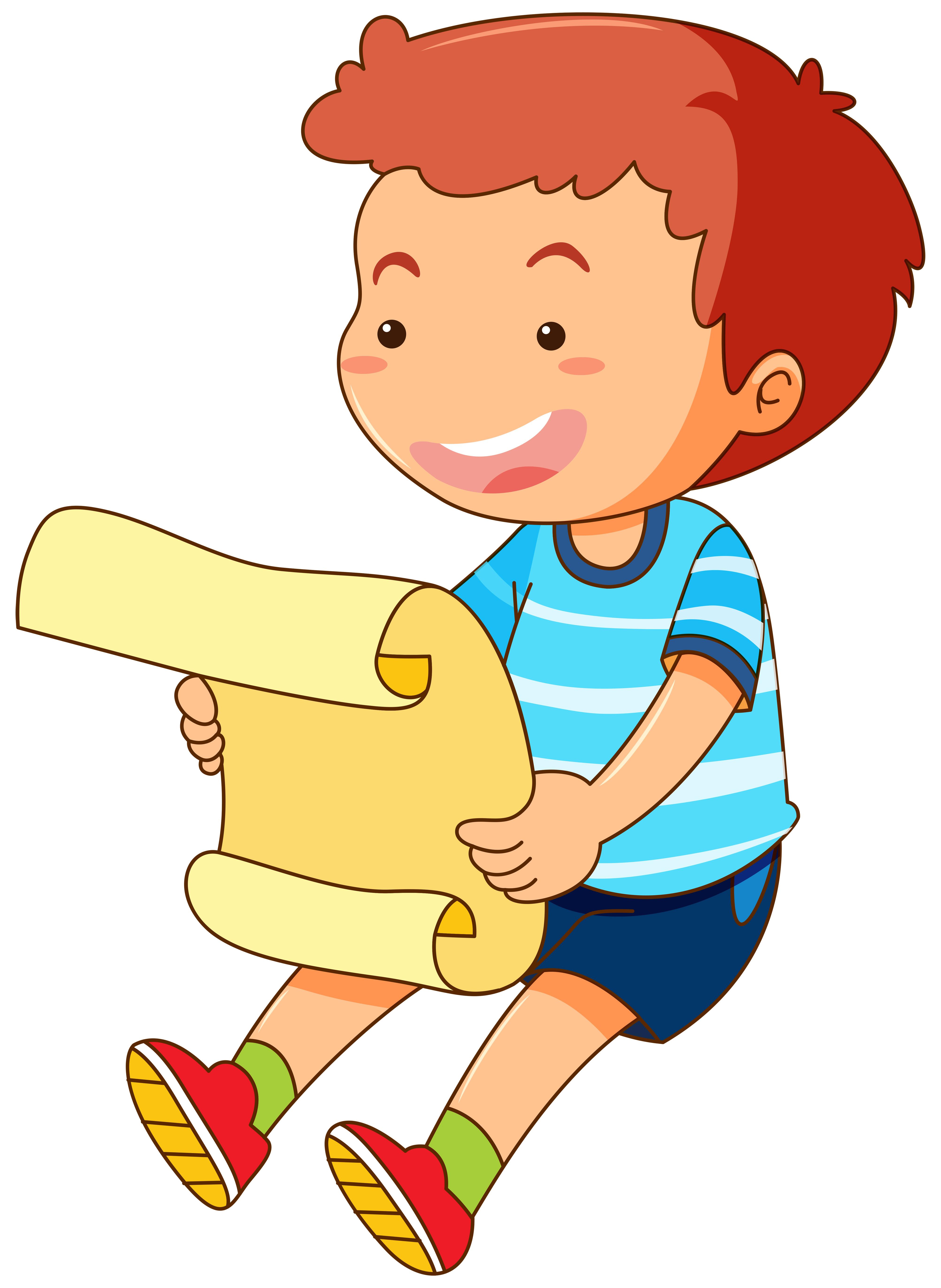 Little Boy Reading Paper Download Free Vectors Clipart